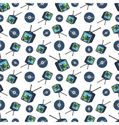 TV Set and Vinyl Seamless Pattern vector image vector image
