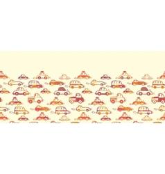 Vibrant cars horizontal seamless pattern vector image