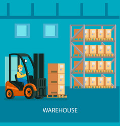 warehouse interior colorful composition vector image