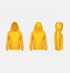 Yellow hoodie sweatshirt 3d realistic vector