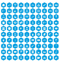100 working professions icons set blue vector image vector image