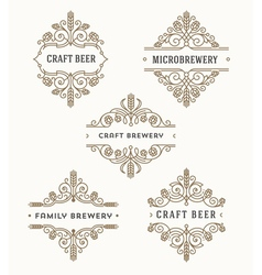 Set of craft beer and microbrewery emblems vector