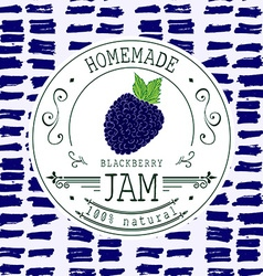 Jam label design template for blackberry dessert vector
