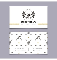 Stone therapy business card massage beauty spa vector