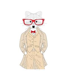 Cute raccoon boy in elegant suit with coat glasses vector