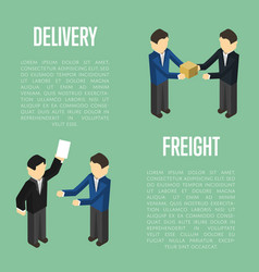 Freight delivery isometric banner with people vector