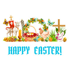 Easter spring holiday cartoon banner design vector