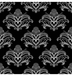 White colored floral paisley seamless pattern vector