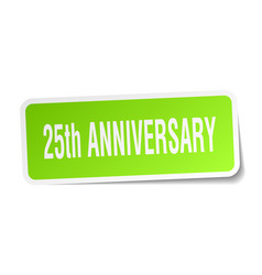 25th anniversary square sticker on white vector