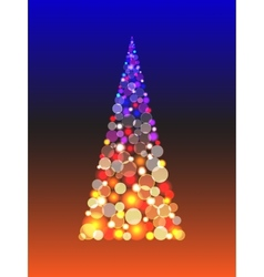 Christmas tree with shiny blur boke lights vector