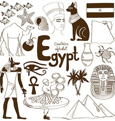 Collection of egypt icons vector