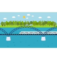 Train on railway bridge forest and lake on vector