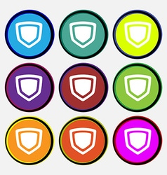 Shield icon sign nine multi-colored round buttons vector