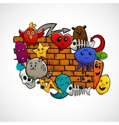 Graffiti characters flat color concept vector
