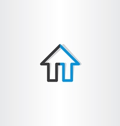 Black blue house line icon vector