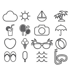Line icons collection of traveling tourism and vector