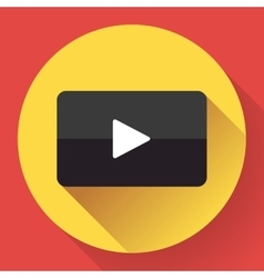 Modern flat video player icon on red vector