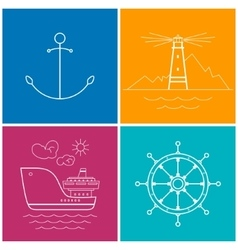 Set of colorful maritime icons vector
