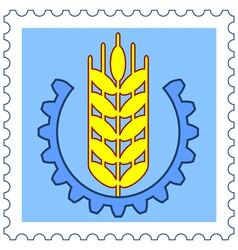 Ear of wheat stamp vector image