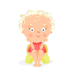 adorable cartoon baby girl sitting on a yellow vector image vector image