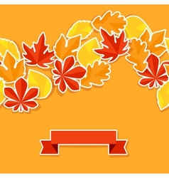Background with stickers autumn leaves vector image