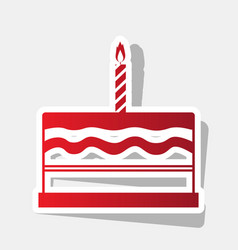 Birthday cake sign new year reddish icon vector