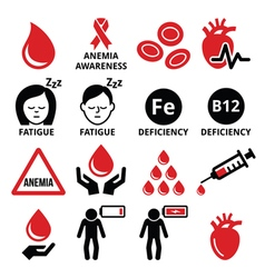 Blood anemia human health icons set vector