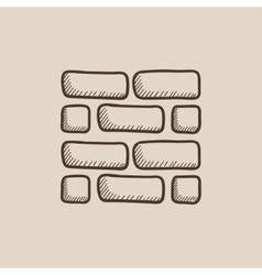 Brickwall sketch icon vector