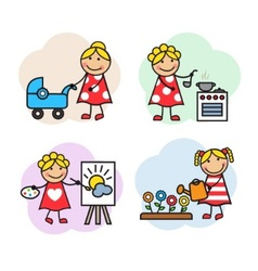 Cartoon woman hobby vector image