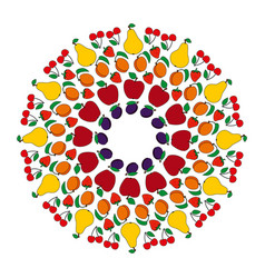 Colored circular fruity mandala vector