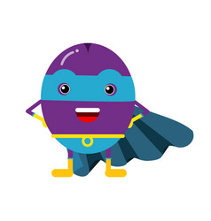 Cute cartoon plum superhero in mask and blue cape vector
