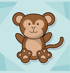 cute monkey baby animal cartoon image vector image