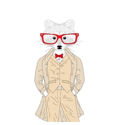 cute raccoon boy in elegant suit with coat glasses vector image