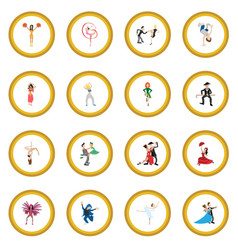 Dances cartoon icon circle vector