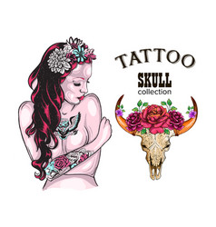 flower tattoo design shop tattooed lady skull of vector image vector image