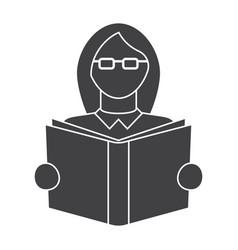 Girl read book vector