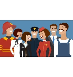 Group of people from different profession vector image vector image