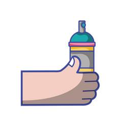 Hand with aerosol spray paint art vector