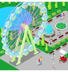 Isometric amusement park with ferris wheel vector