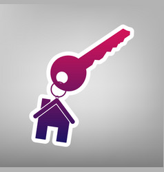 Key with keychain as an house sign purple vector