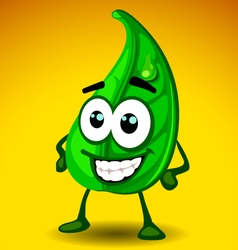 leaf mascot vector image vector image