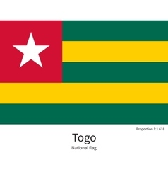 National flag of Togo with correct proportions vector image