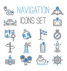 Navigation outline black location pin pictogram vector