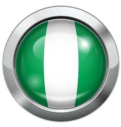 Nigeria flag metal button vector image vector image