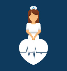 Nurse heartbeat pulse care vector
