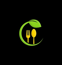 organic food green leaf nature logo vector image