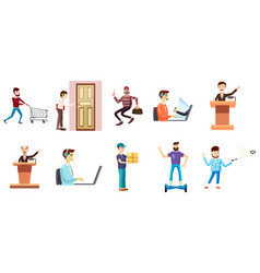 People with object icon set cartoon style vector
