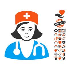 Physician lady icon with love bonus vector