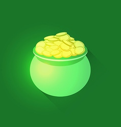 Pot full of gold coins vector image vector image