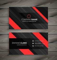 Red black business card stripes design vector